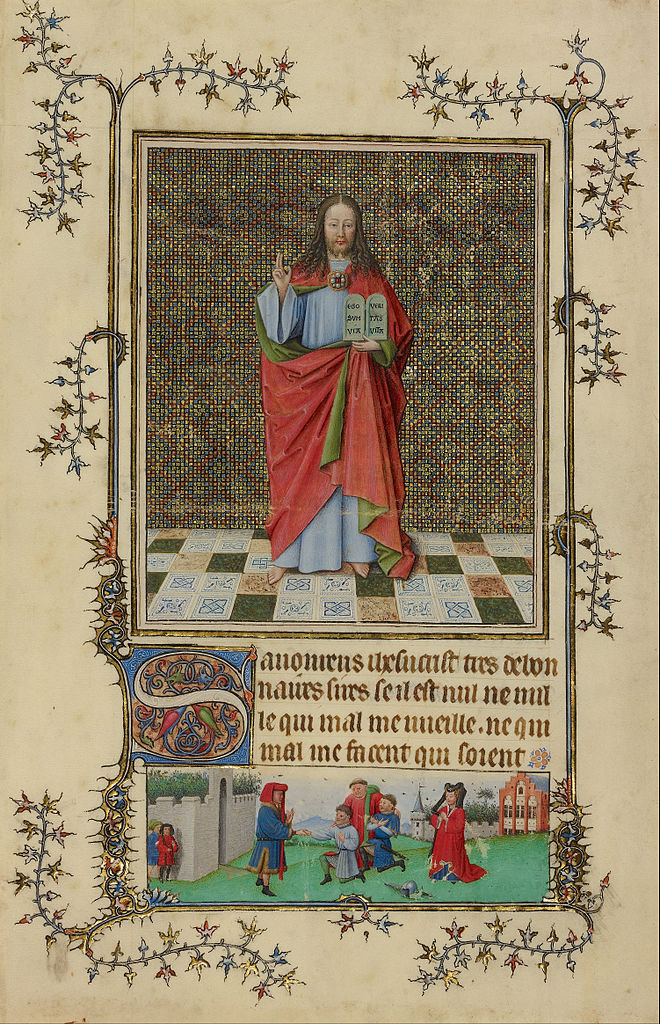 Maitre de la crucifixion de Berlin 1440-45 Christ_Blessing_-Getty center folio 75v Heures de Milav Turin,