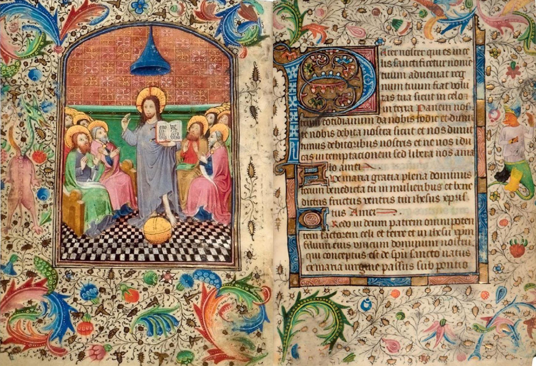 Master of the Golds Scrolls 1445 ca Bruges Jesus enseignant la priere a ses disciples BL Add MS 39638 fol 35v