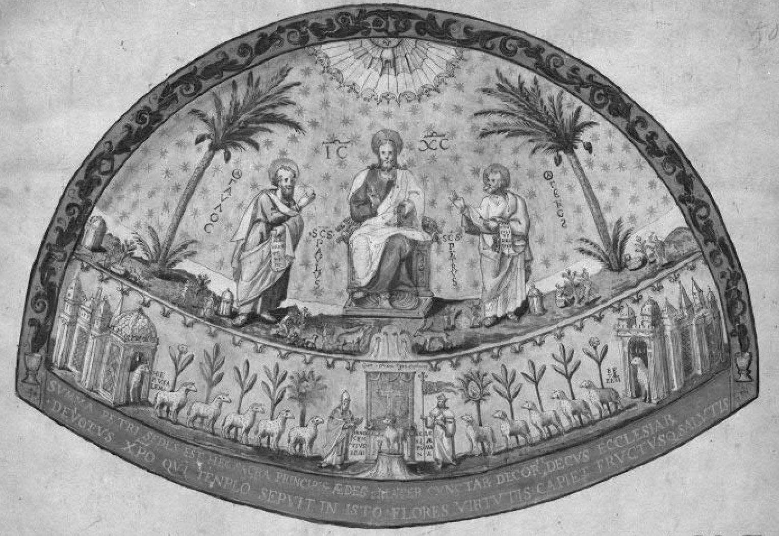 Mosaique du vieux saint Pierre de Rome dessin de Grimani