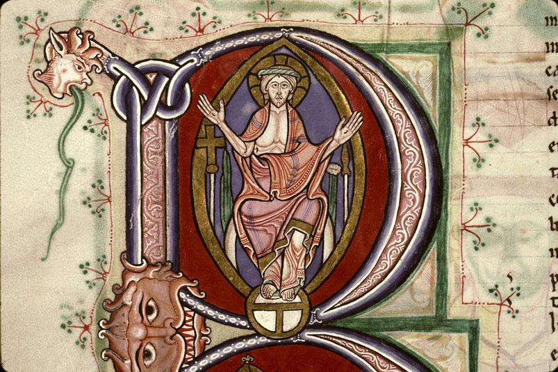 Ostension des plaies 1150 ca Augustin Enarrationes in Psalmos Douai - BM - ms. 0250 f02v