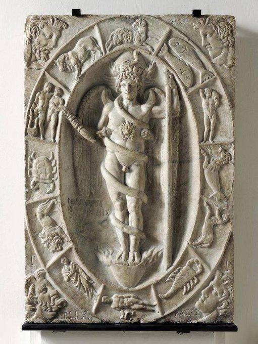 Phanes, dieu primordial de la cosmogonie orphique sortant de son oeuf, et zodiaque, 2e siecle, Modena, Italie
