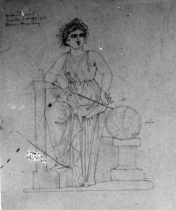 Pompeii. W.338. Room 9, drawing of Urania, from panel at north end of east wall. Photo Tatiana Warscher. Deutsches Archaologisches Institut, Abteilung Rom, Arkiv.