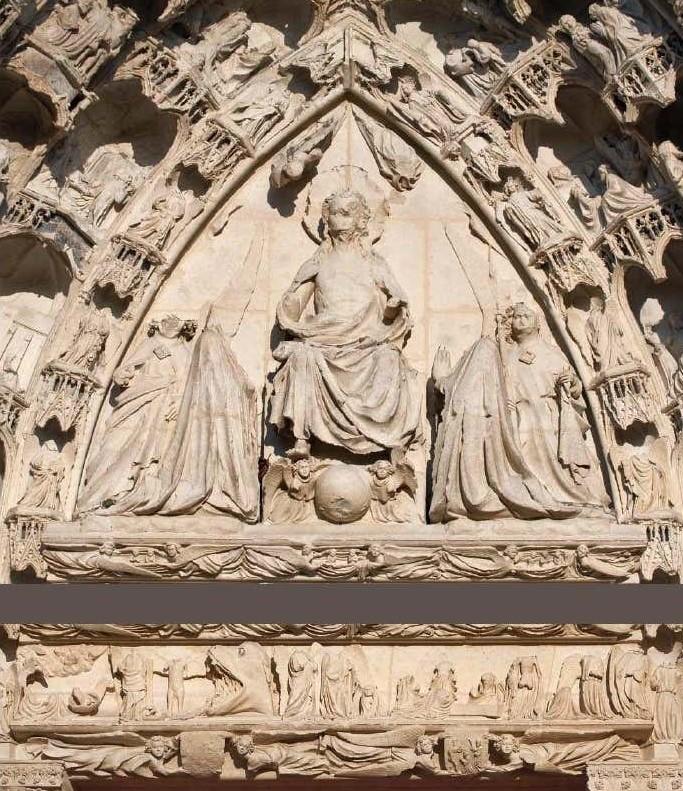 Portail-droit-de-la-facade-occidentale-de-la-cathedrale-St Etienne d'Auxerre XIIIeme