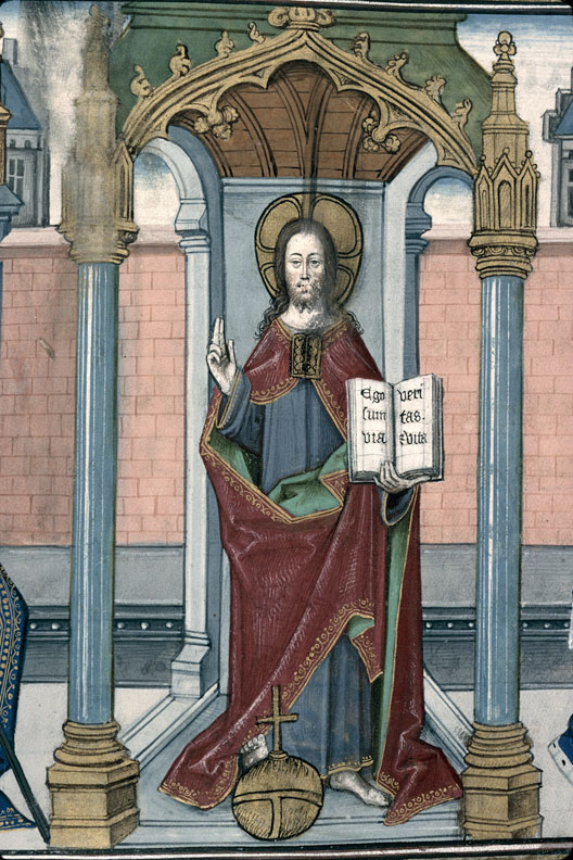 Salvator Mundi 1462 Imitation de Jesus Christ Valenciennes MS 240 fol 158 detail
