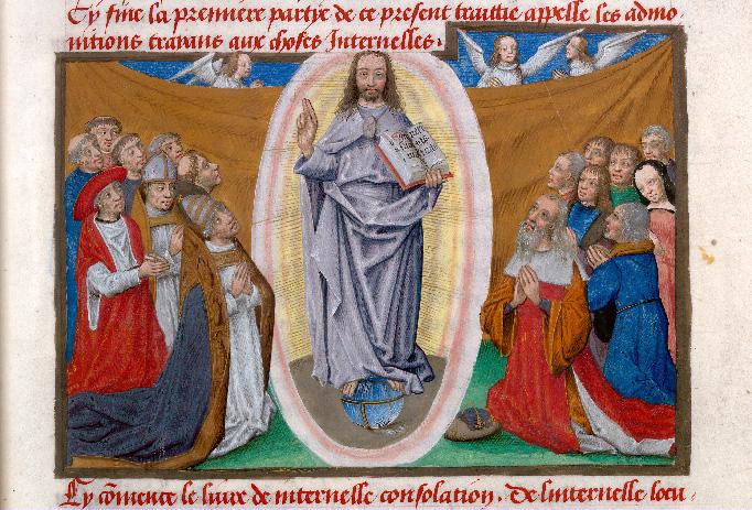 Salvator Mundi entoure par la chretiente en priere Imitation de Jésus-Christ 1480 Valenciennes - BM - ms. 0230 f 066