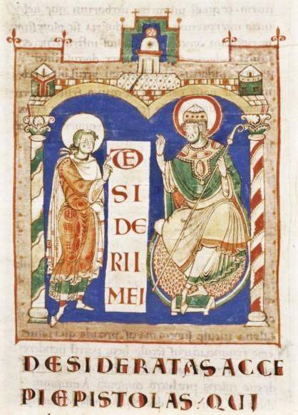 St Jerome et pape Damase 1100 ca Seconde Bible de St Martial de Limoges Bibliotheque nationale de France MS Latin 8-1, fol. 4v