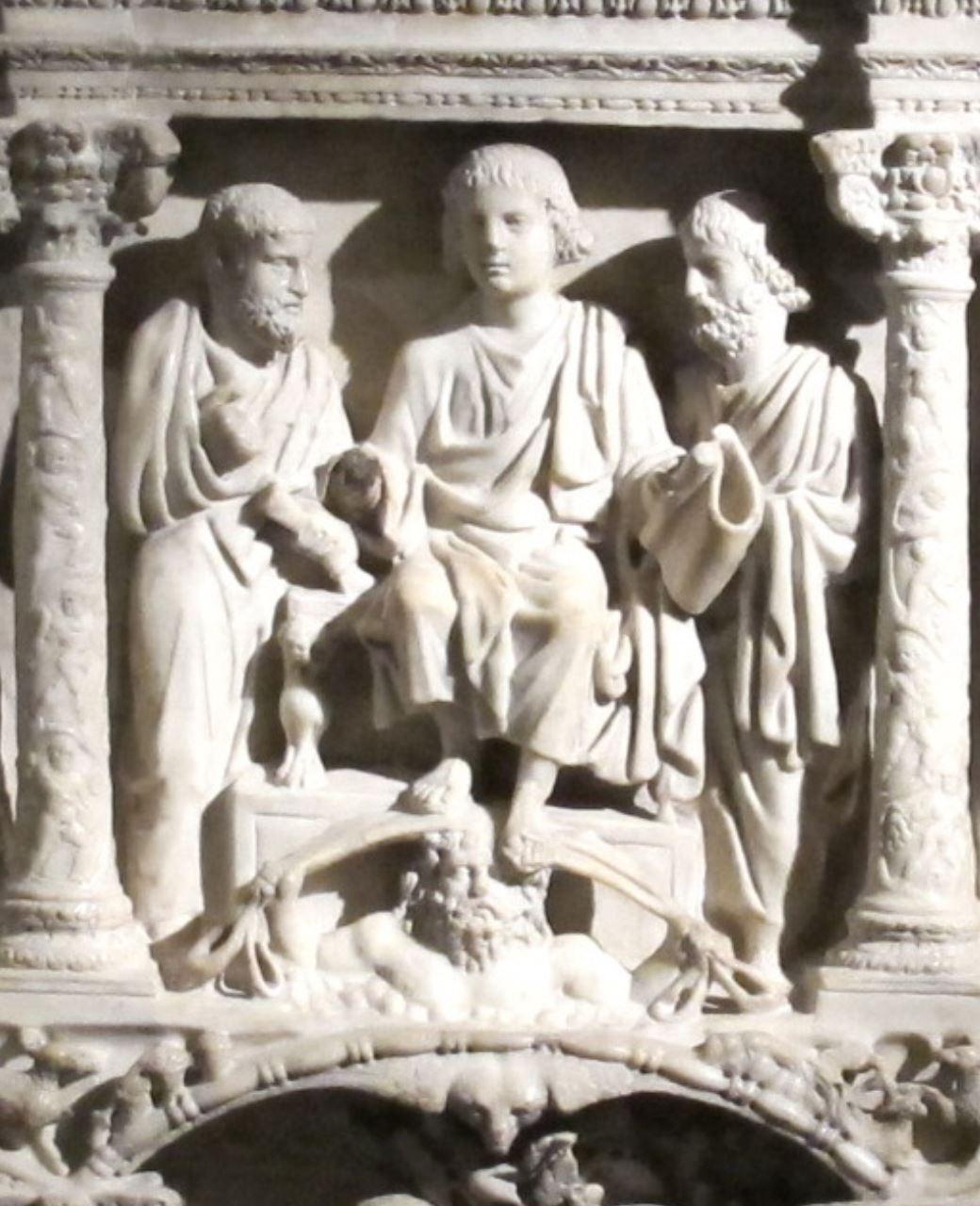 Traditio clavis. Traditio legis Sarcophage de Junius Bassus 359 Museo del tesoro di San Pietro Vatican