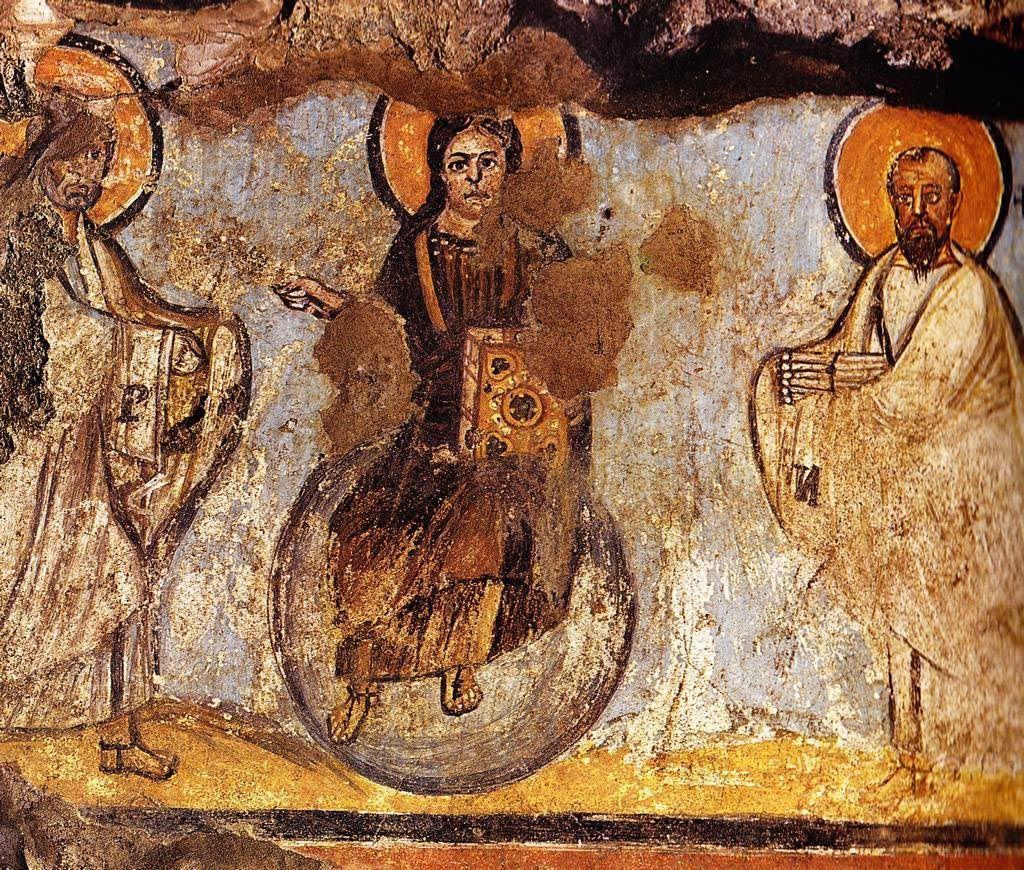Traditio clavium. Cristo in trono tra i Santi Pietro e Paolo, T VII secolo (684), Catacombe di Commodilla, Roma