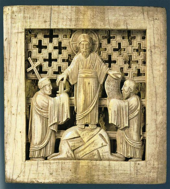 Traditio legis et clavis fragment de l Antependium de Magdebourg 968 , Staatsbibliothek, Berlin