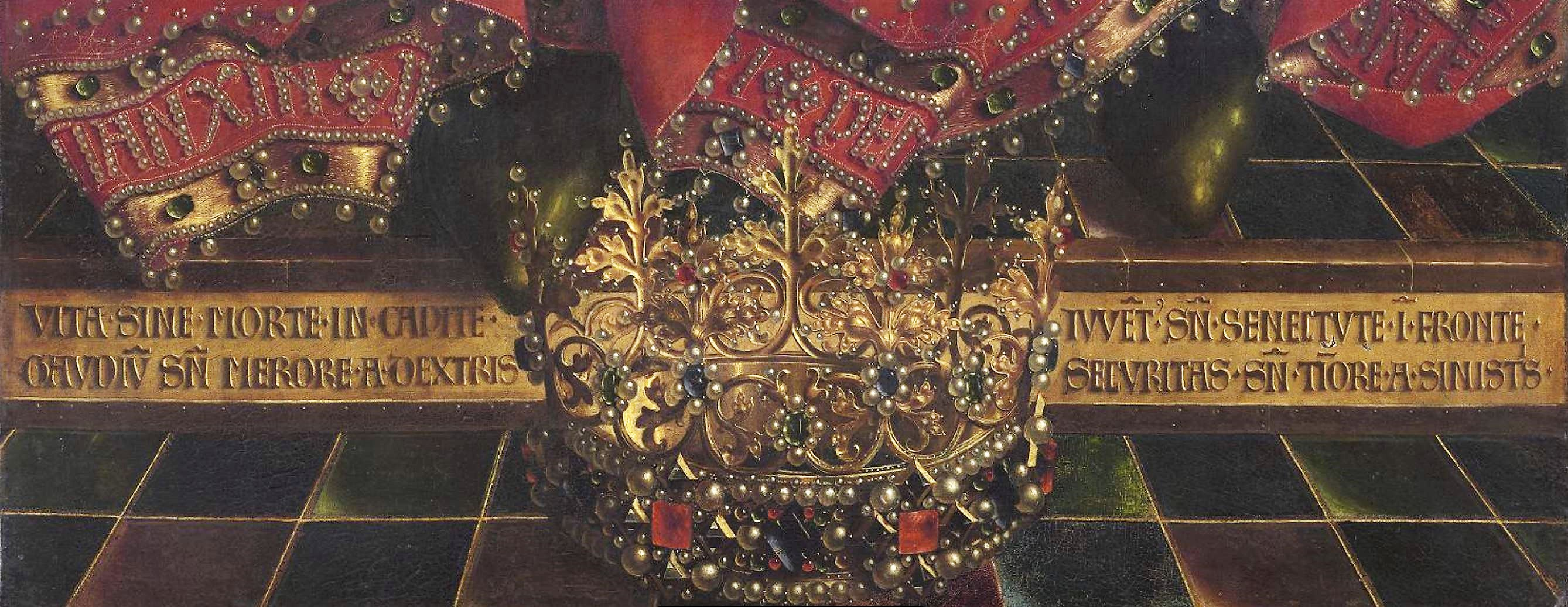 Van Eyck 1432 Retable de Gand inscrition en bas