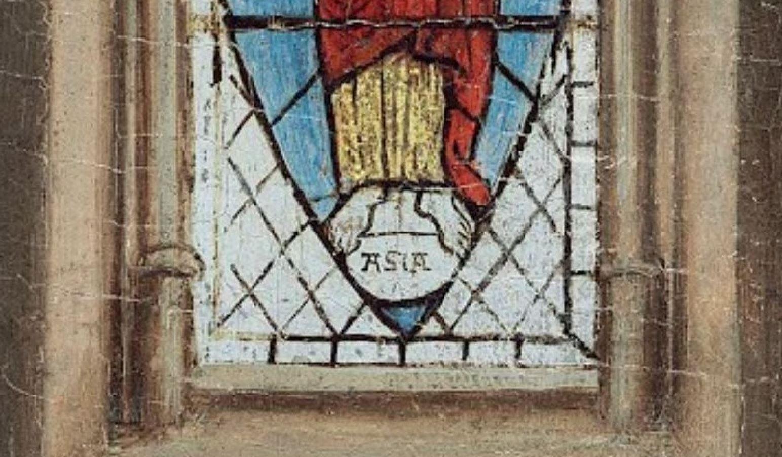 Van Eyck Annonciation 1434-36 NGA vitrail seul bas