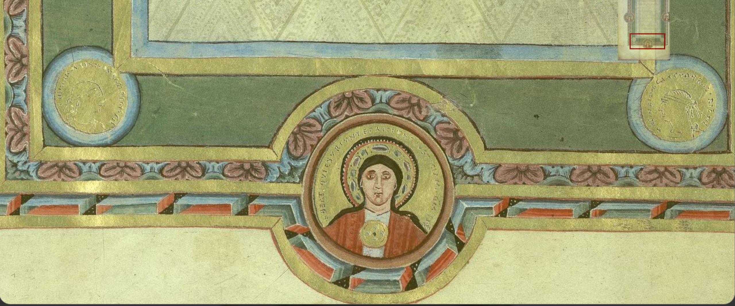 1046 Evangeliaire Henri III Beatitudes Codex Aureus Escurialensis fol 3 detail