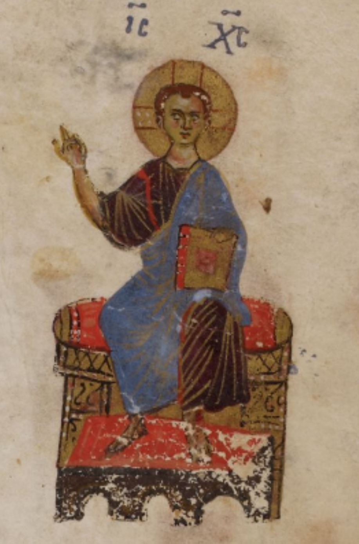 1066 Psautier theodore Christ as a boy, teaching fol 56r BL Add.19352