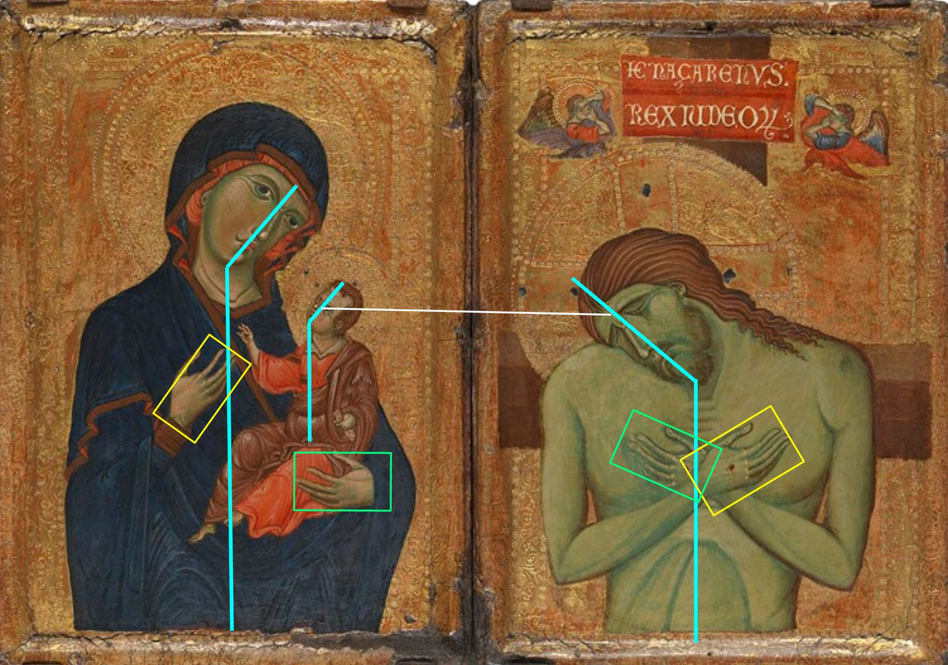 1250-69 Master of the Borgo Crucifix . National Gallery schema
