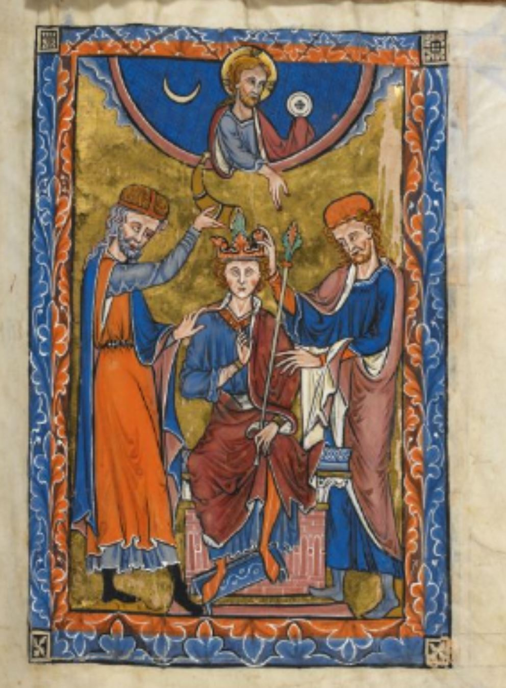 1260 Rutland Psalter Anointing and Crowning of King David, with Christ above flanked by the Sun (marked as a Host) and Moon, before Psalm 26 BL Add MS 62925 fol 29r