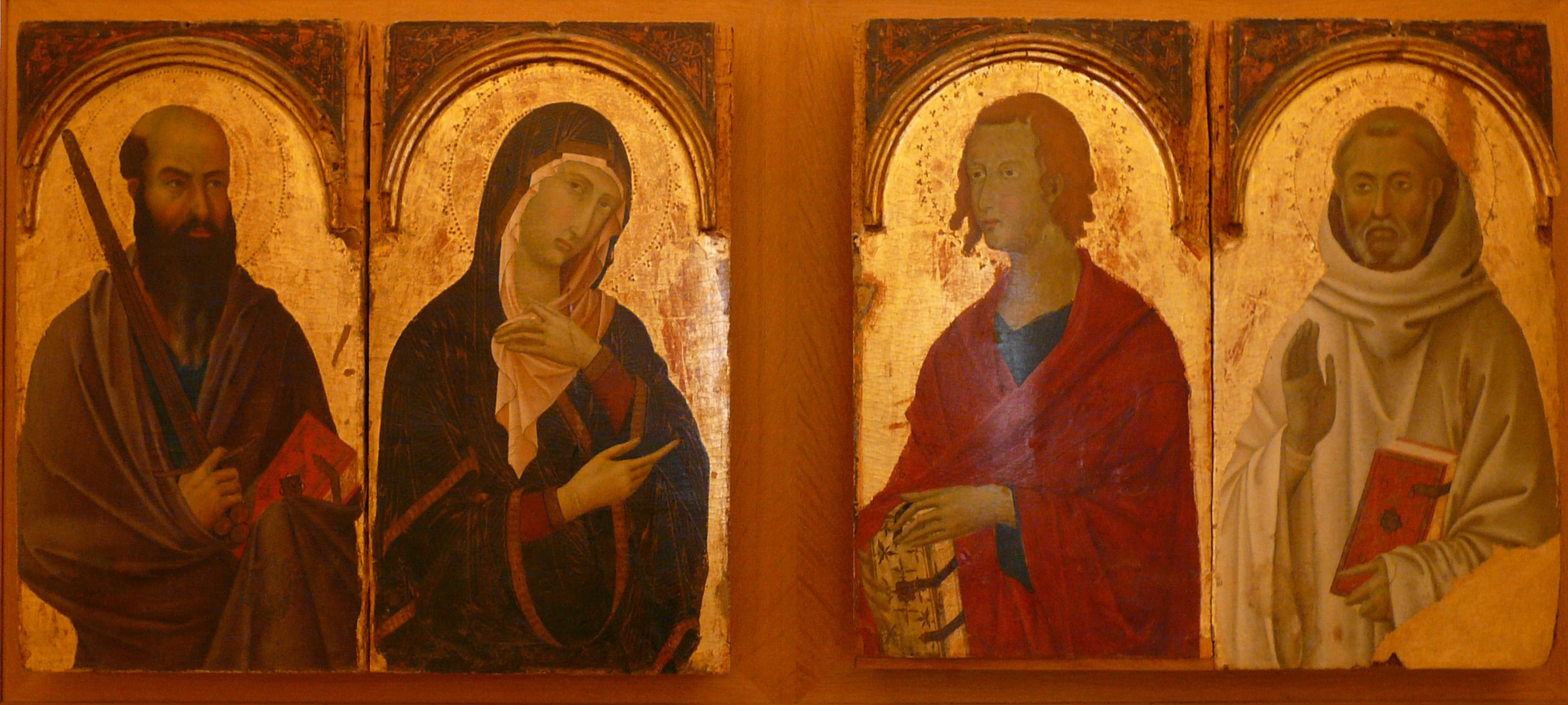1315 ca San Paolo, la Madonna, San Giovanni Evangelista, San Romualdo Segna di Buoventura Siena_Pinacoteca