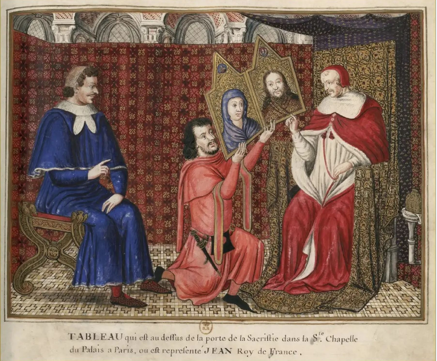 1342, Pape Clement VI offre au roi Jean II le Bon,copie peinture disparue de la Sainte-Chapelle, BNF Estampes. OA-11 fol, 85
