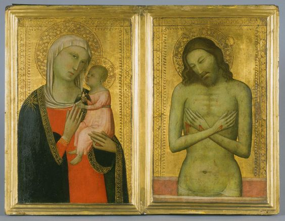 1366 ca Allegretto Nuzi, Virgin and Child; Man of Sorrows, Diptych, , Phladelphia Museum of Art