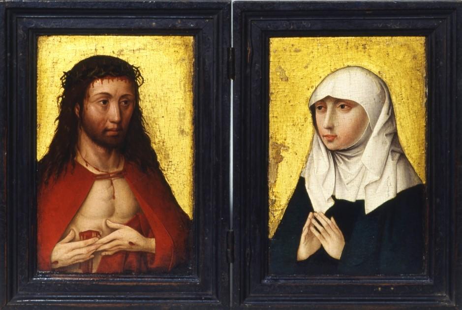 1470 ca Master of the Dinkelsbühler Kalvarienberges, Christ as Man of Sorrows and Virgin Stiftsmuseum, Aschaffenburg