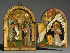 1480-1500 Triptych with the Madre della Consolazione and the Man of Sorrows, Crete, Morsink Icon Gallery, Amsterdam semi closed