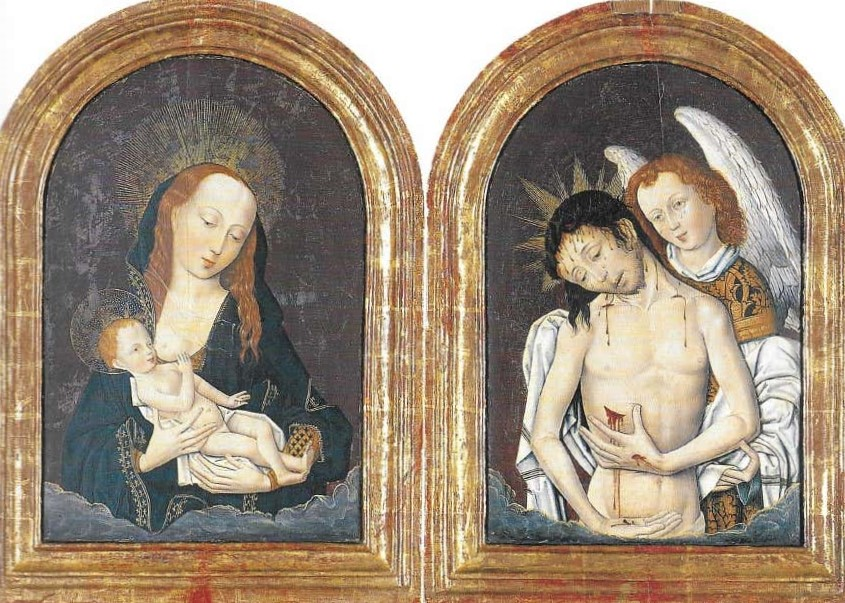 1500 ca diptych-of-the-mother-of-god-milk-giver-and-the-pity-of-christ-Monastery of Pedralbes Barcelone