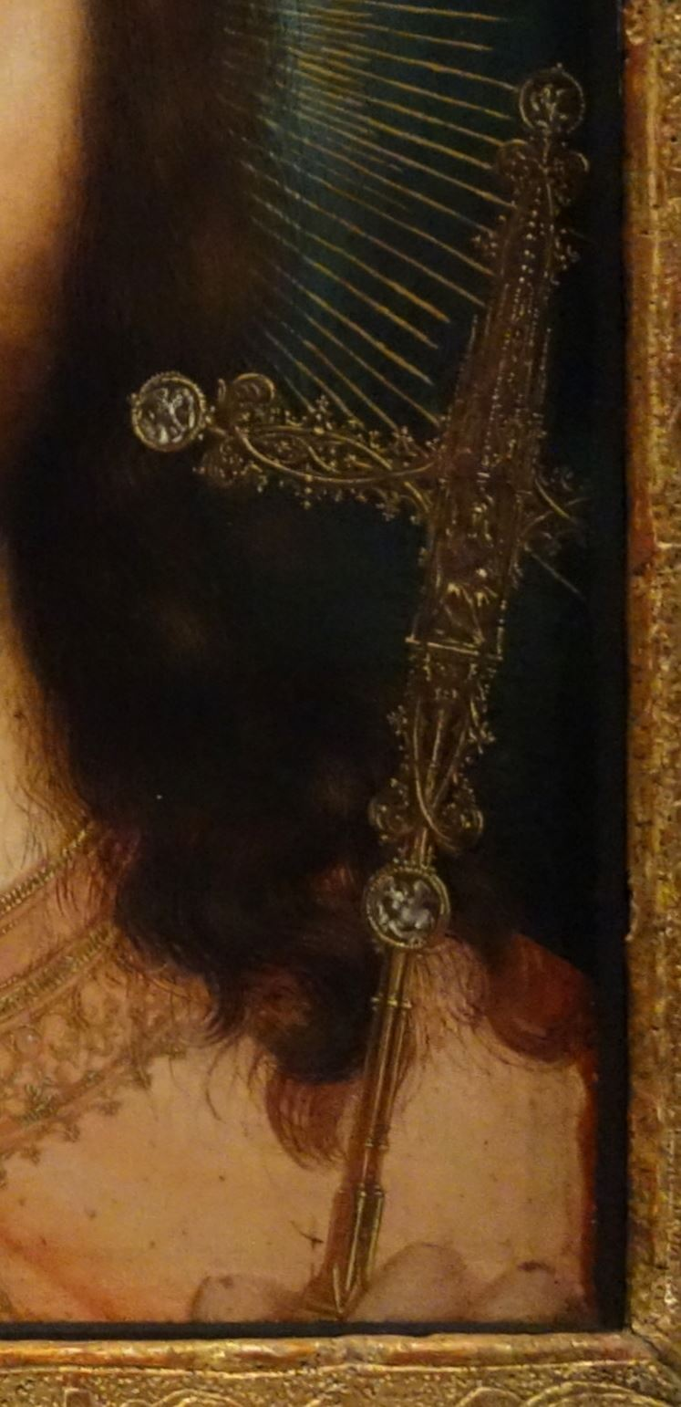 1505 ca Christ_as_Salvator_Mundi_and_Mary_Praying,_by_Quinten_Massijs Royal Museum of Fine Arts Antwerp detail croix