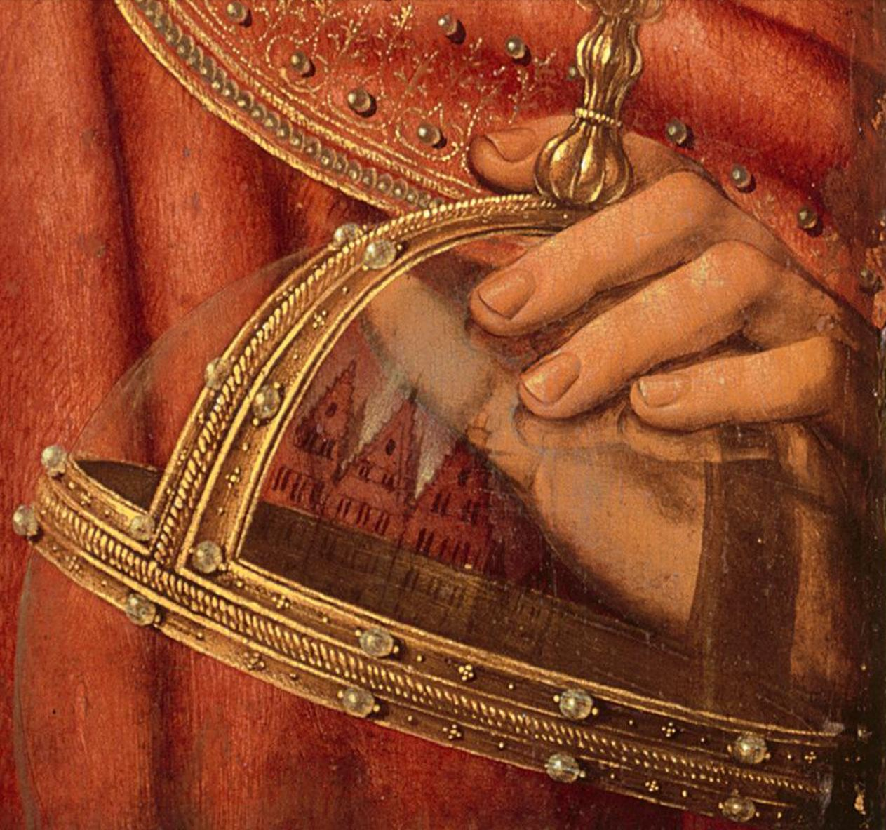 1510-25 CHRIST AND THE VIRGIN atelier QUENTIN MASSYS National Gallery detail globe