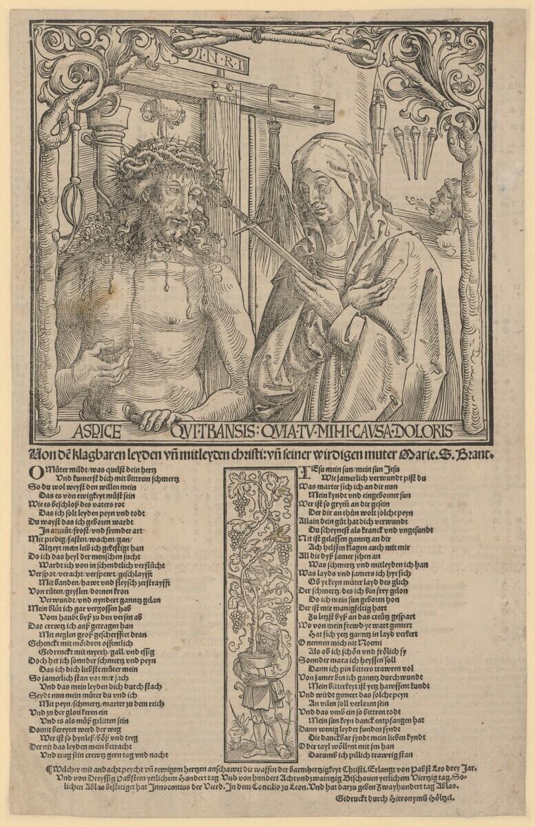 1512 Wolf Traut Homme de douluers et Marie poeme de Sebastien Brandt