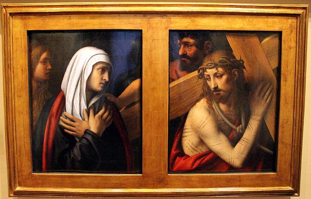 1520-30 Bernardino_luini,_dittico_con_mater_dolorosa_e_andata_al_calvario,__Museo Poldi Pezzoli Milan