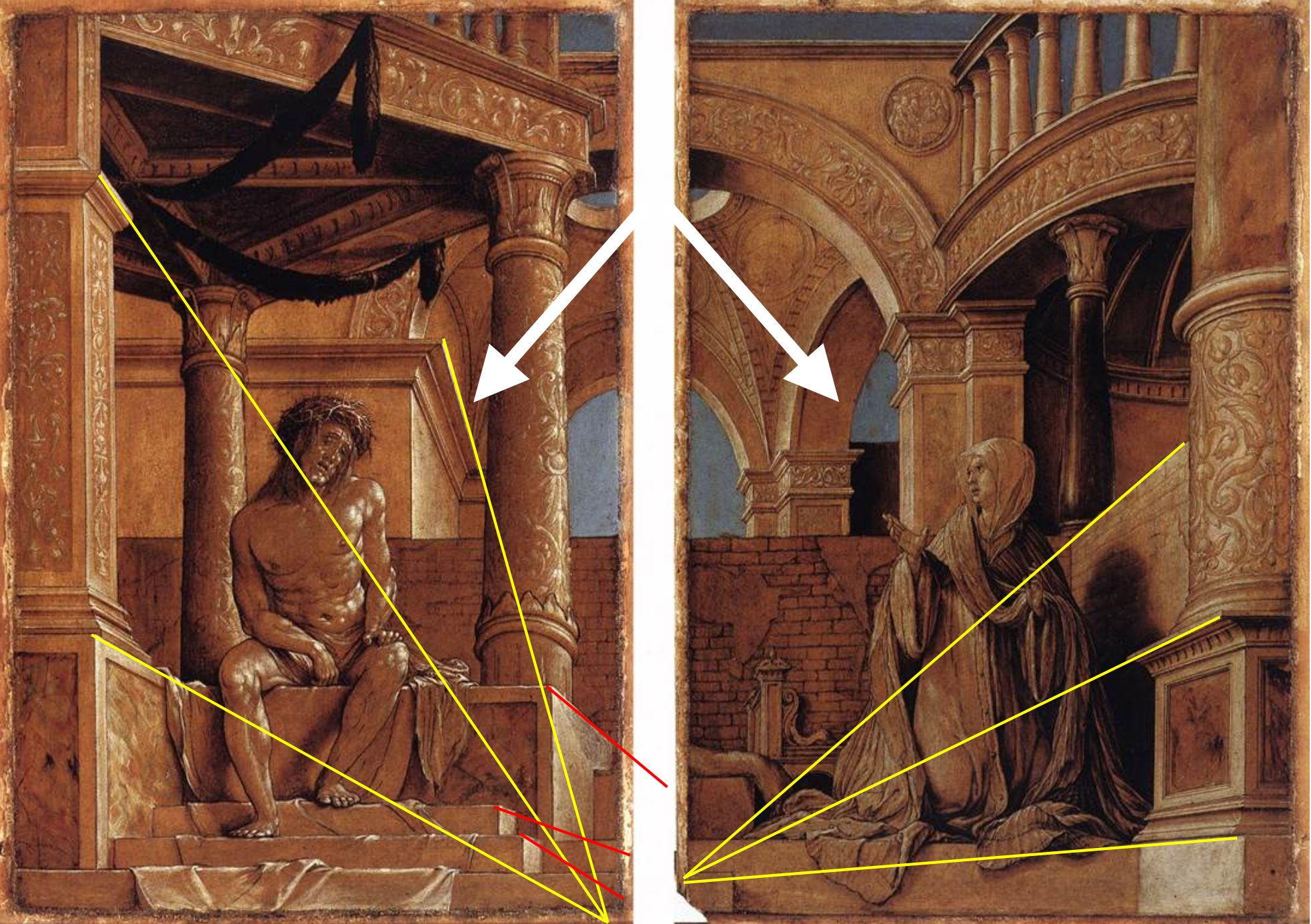 1521 hans-holbein diptych-with-christ-and-the-mater-dolorosa Kunstmuseum, Offentliche Kunstsammlung, Basel perspective