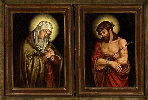 1550-1600 flemish-school-la-dolorosa-y-el-ecce-homo-(diptych coll priv