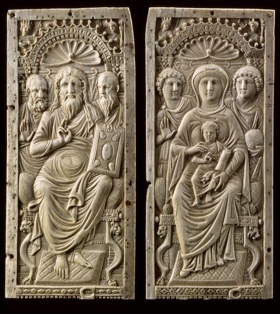 550 ca Christ and Mary - Diptych. Ivory Museum fur Byzantinische Kunst der Staatlichen Museen zu Berlin