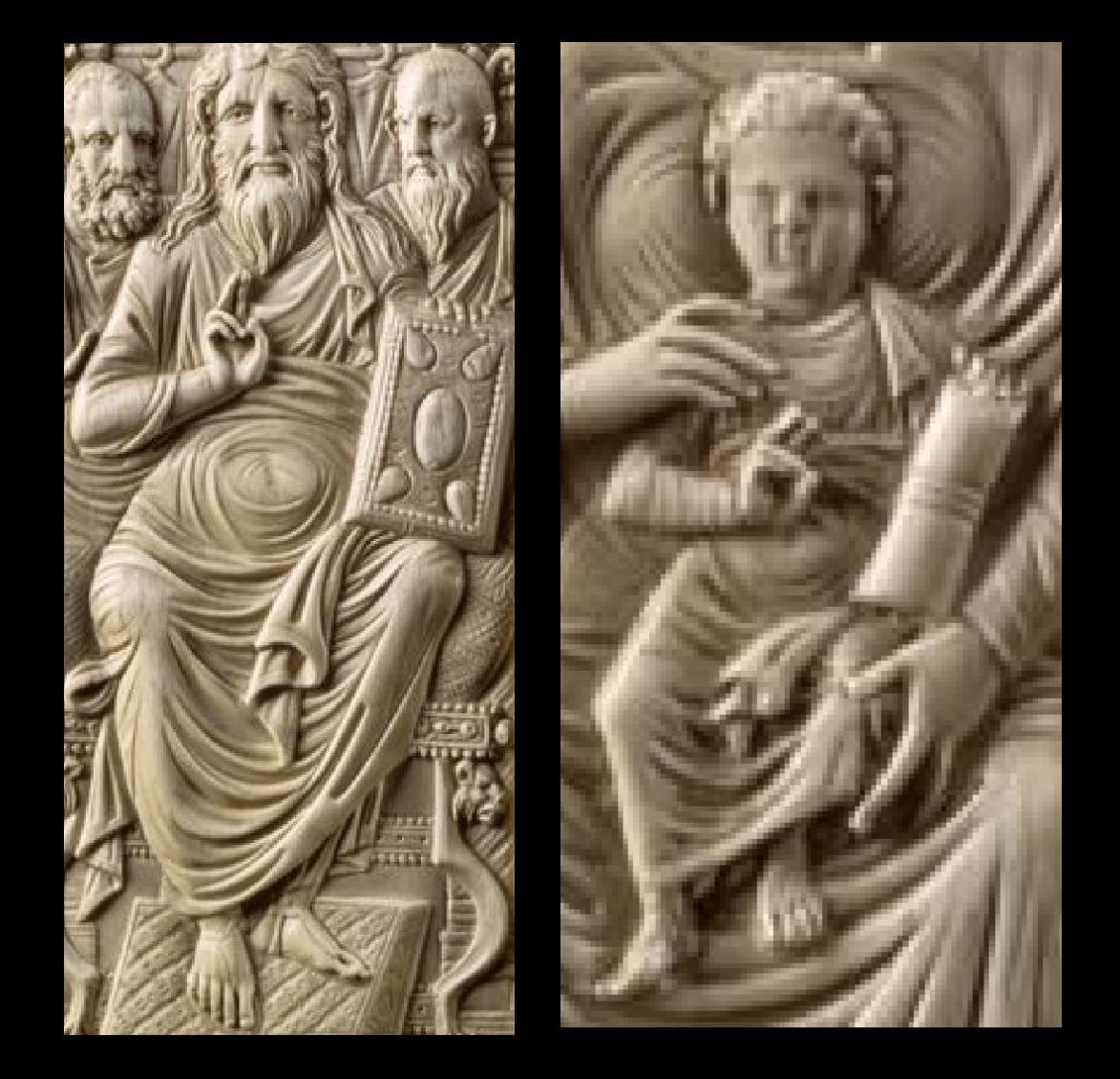 550 ca Christ and Mary - Diptych. Ivory Museum fur Byzantinische Kunst der Staatlichen Museen zu Berlin schema