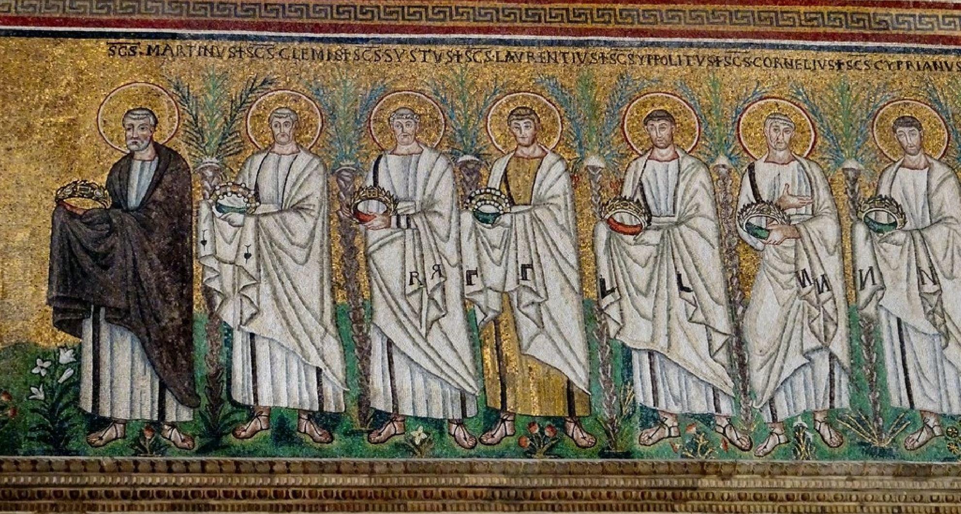 561 apres Procession des martyrs, conduits par Saint Martin Saint Appolinaire le neuf Ravenne