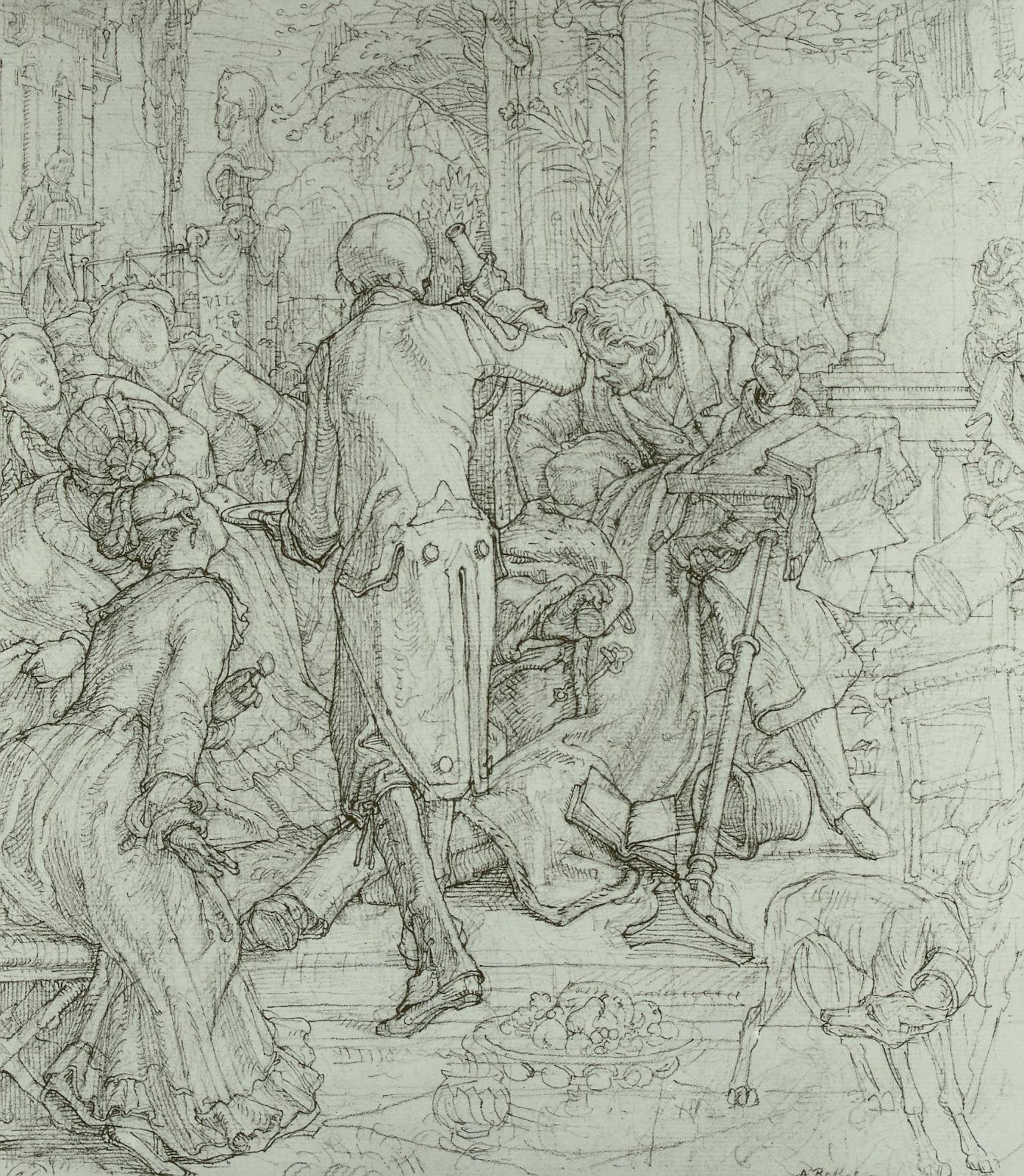 Alfred Rethel 1847-48 La mort comme serviteur dessin kupferstichkabinett dresde