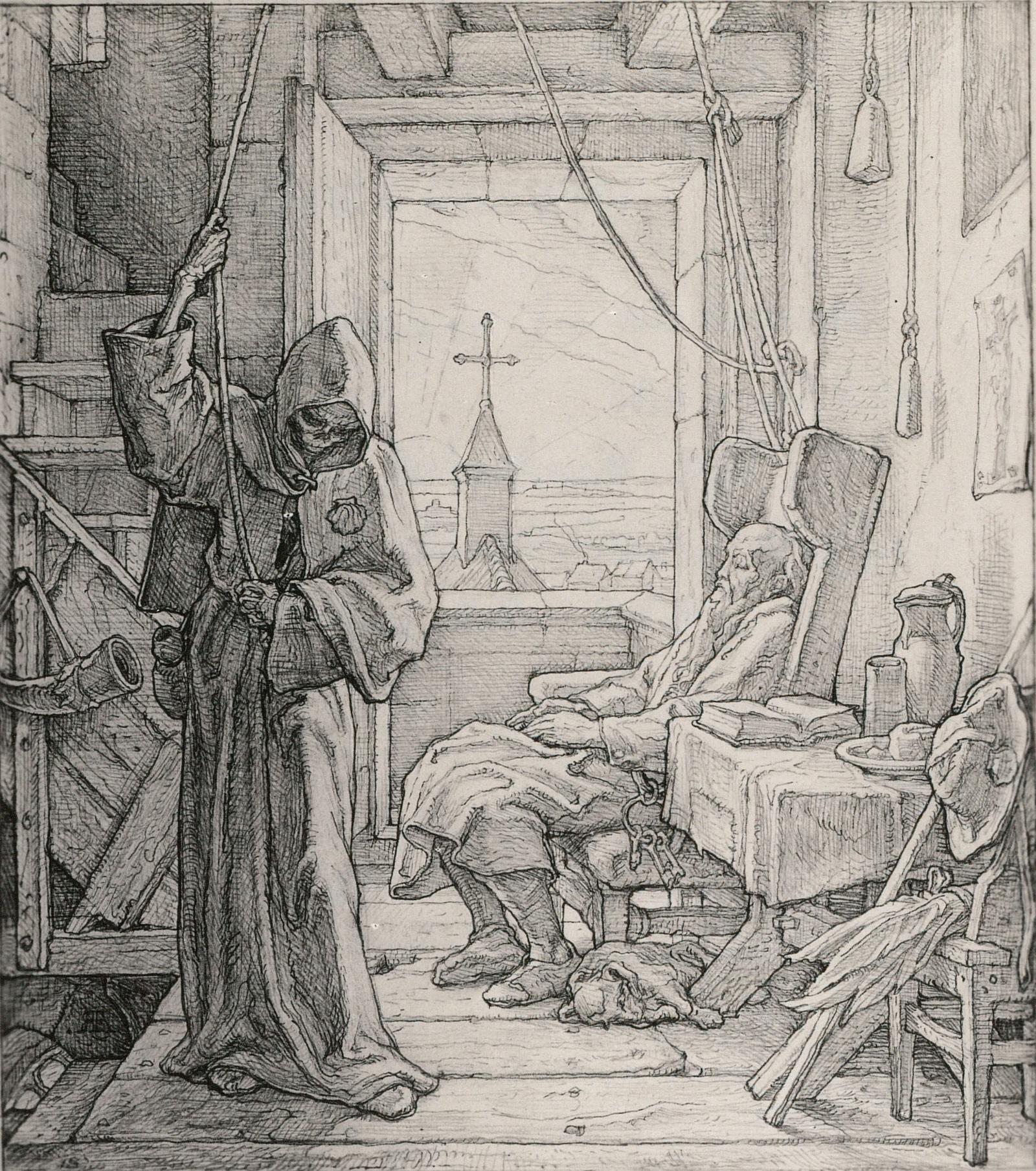 Alfred_Rethel 1851 La Mort comme Amie Tod als Freund dessin kupferstichkabinett dresde inverse