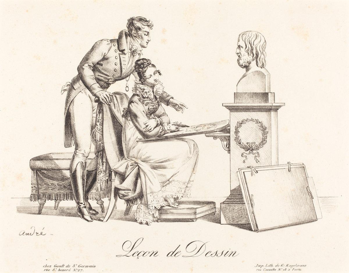 Andre-1818-avant-Lecon-de-dessin-lithographie-Engelmann