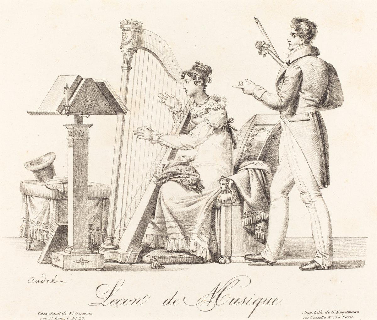 Andre-1818-avant-Lecon-de-musique-lithographie-Engelmann