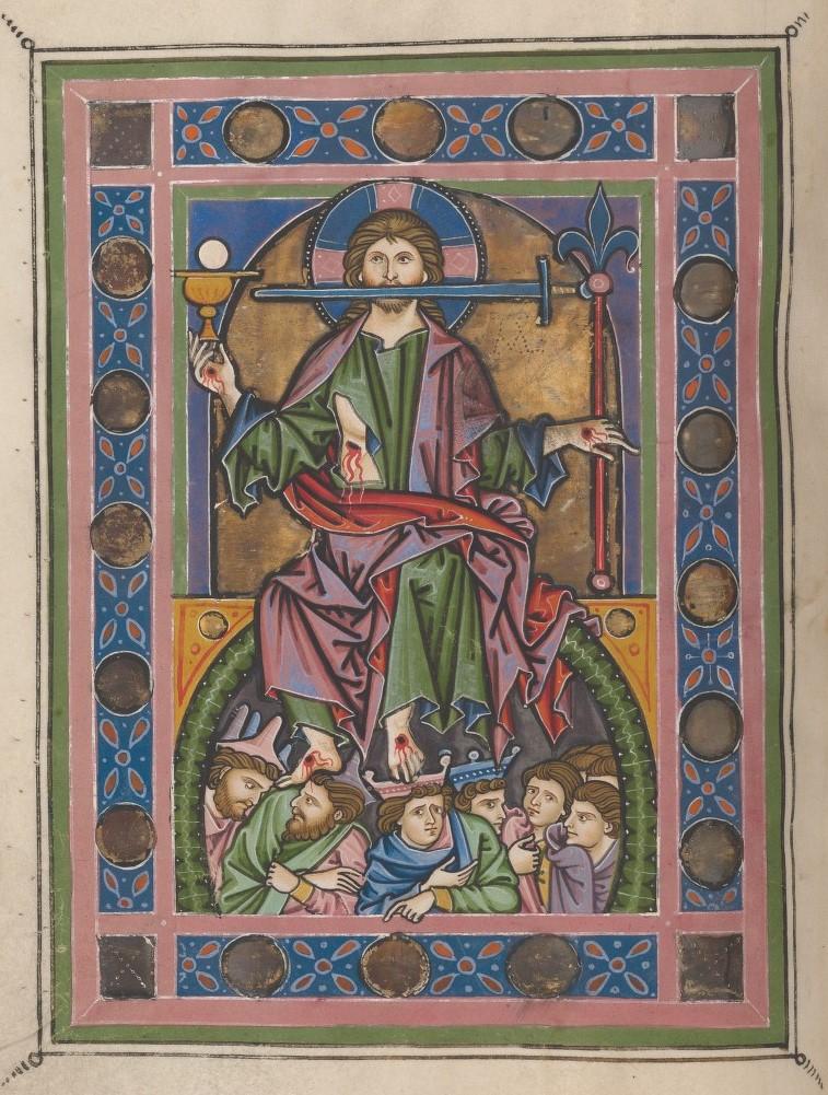 Christ du Jugement Psautier de Rheinau, vers 1260, Ms. Rh. 167, f. 145v Zentralbibliothek Zurich