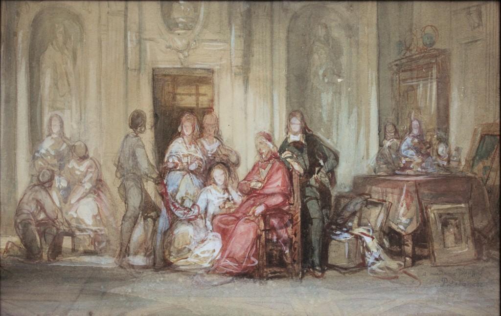 Delaroche 1828 Mazarin et sa niece Marie Mancini avant le depart de celle-ci en exil a Brouage Aquarelle coll priv
