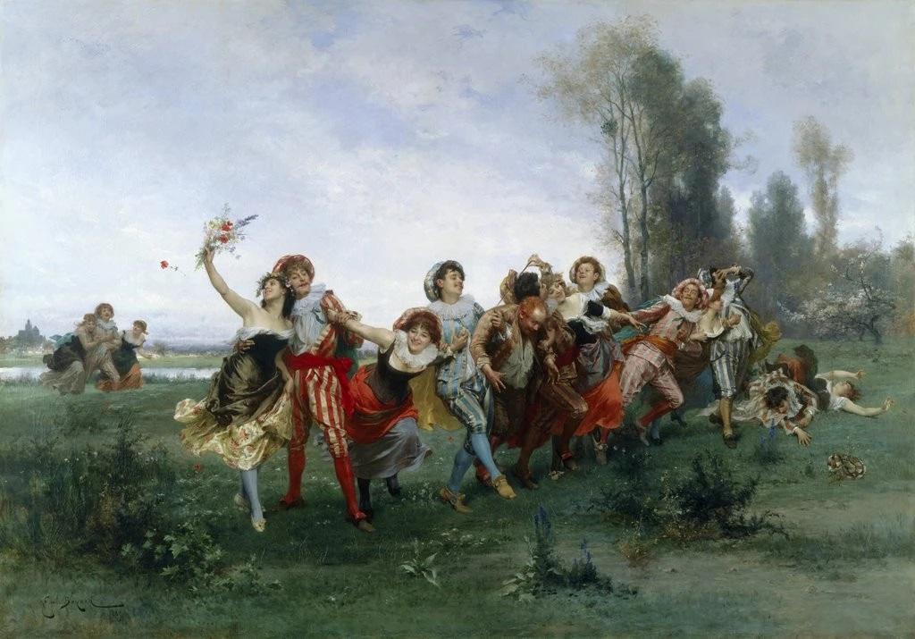 Emile Bayard Farandole de danseurs collection privee gravure en couleur