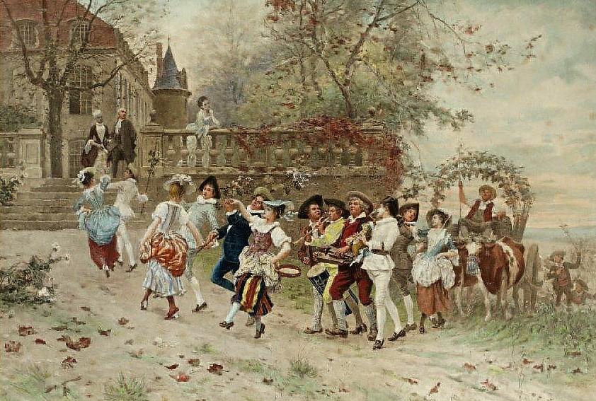 Emile Bayard Fete villageoise collection privee gravure en couleur