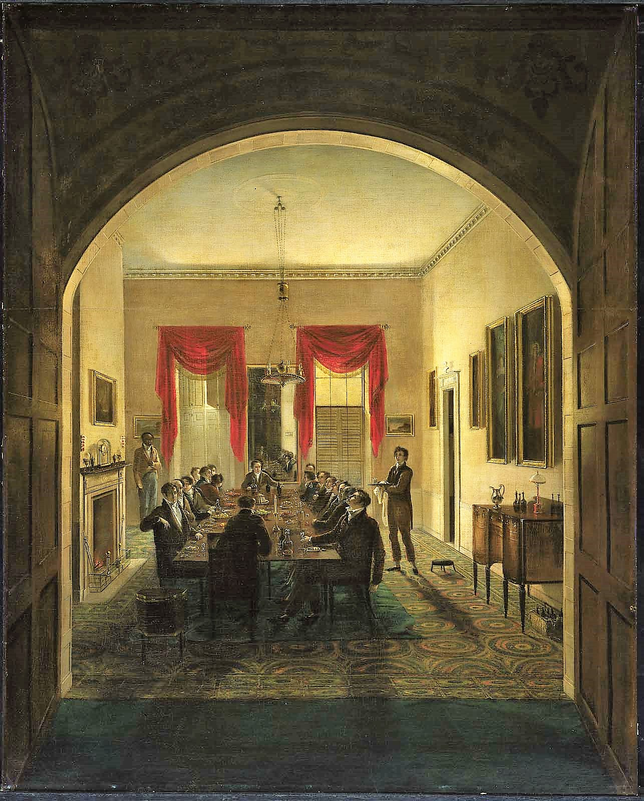 Henry Sargent 1821 ca The Dinner Party Museum Fine Arts Boston156,5 x 126,3 cm.