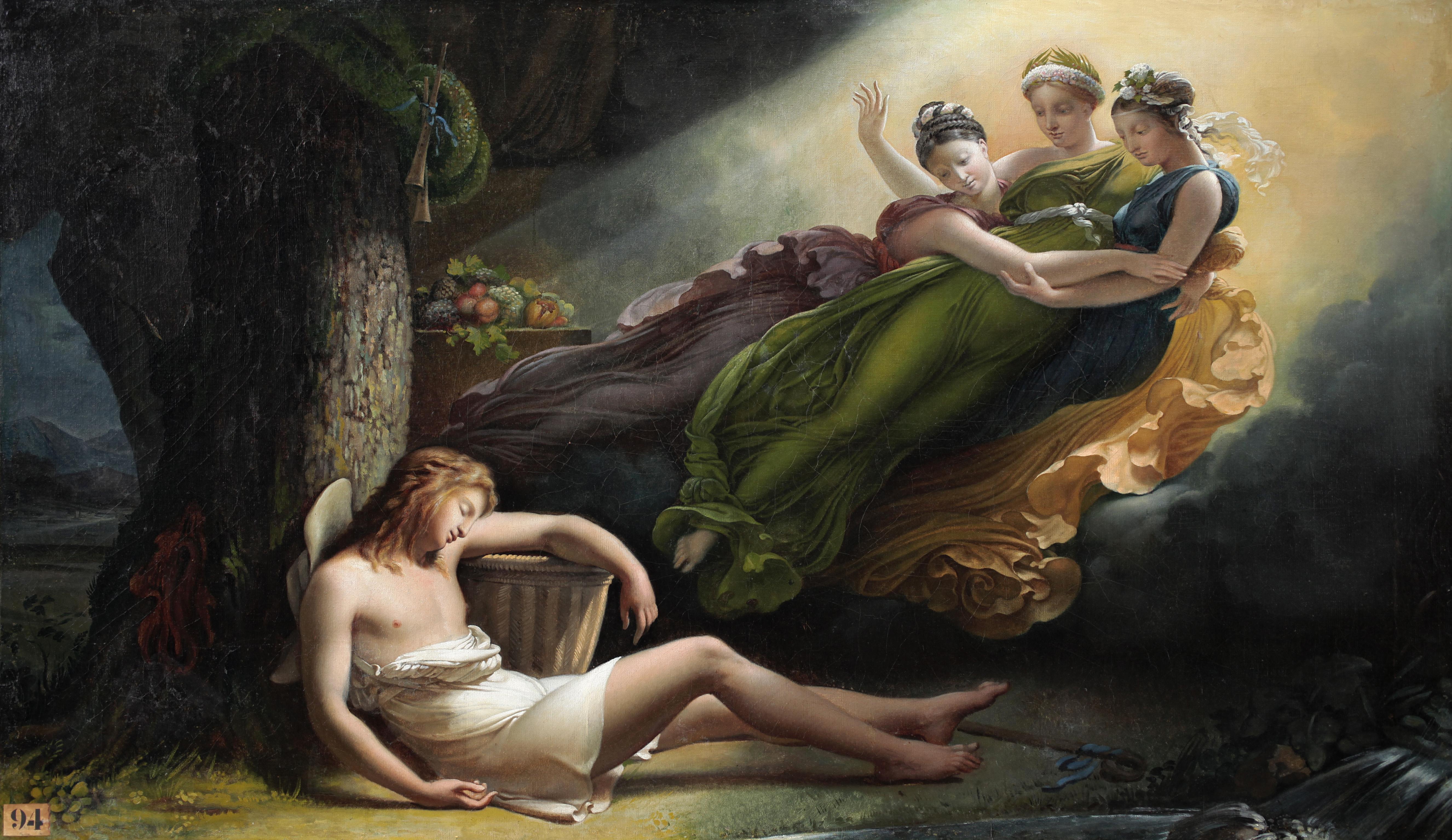 Hersent 1817 Les Graces visitent Daphnis pendant son sommeil Musees E. Berry, Sens
