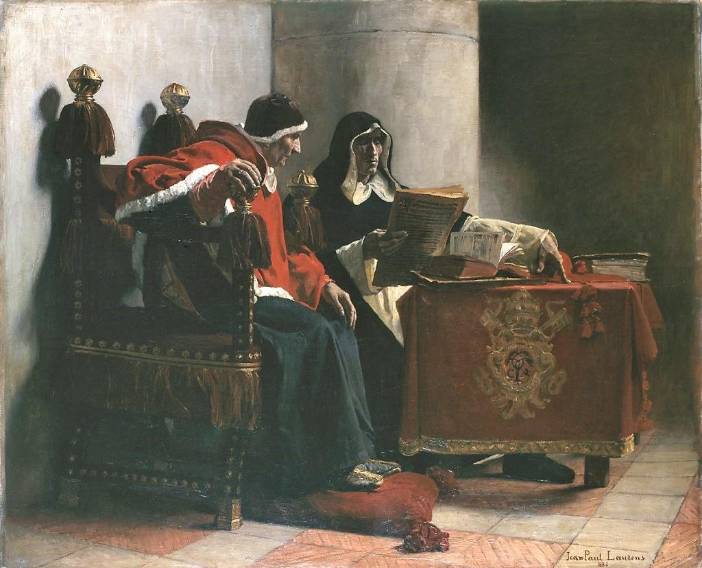 Jean Paul Laurens 1883 Salon Le Pape et l'Inquisiteur Musee des BA de Bordeaux 134 x 113