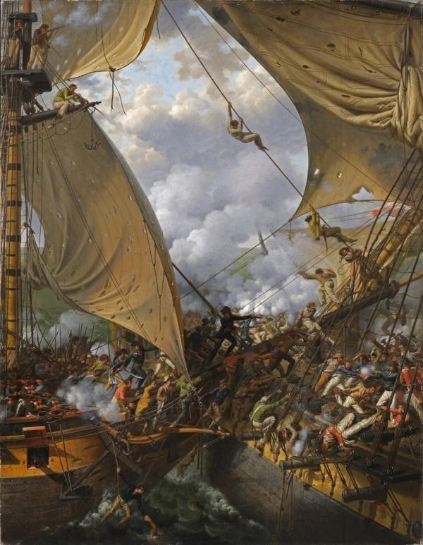 Louis-Philippe Crepin 1827 Combat de la Bayonnaise contre l'HMS Ambuscade coll priv (147 x 114 cm)