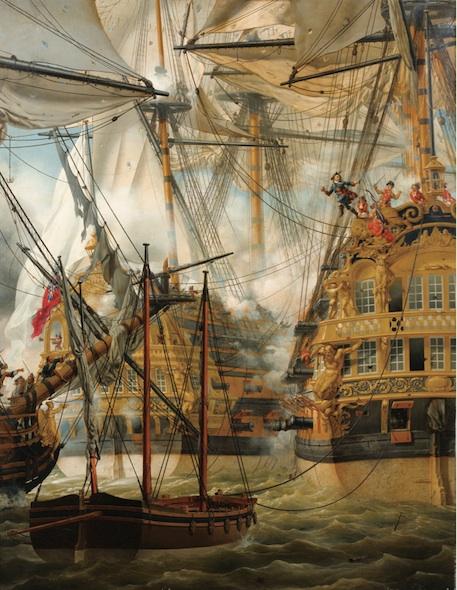 Louis-Philippe Crepin 1827 Le combat du Lys et de la Gloire contre le Cumberland , coll priv (146,5 x 114 cm)