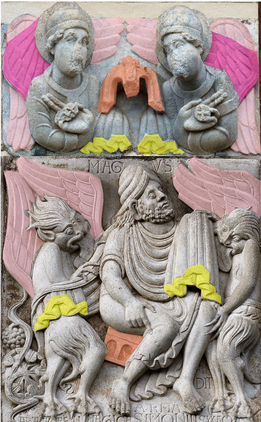 Porte Miegeville Saint sernin de Toulouse_Simon_Magus avec anges