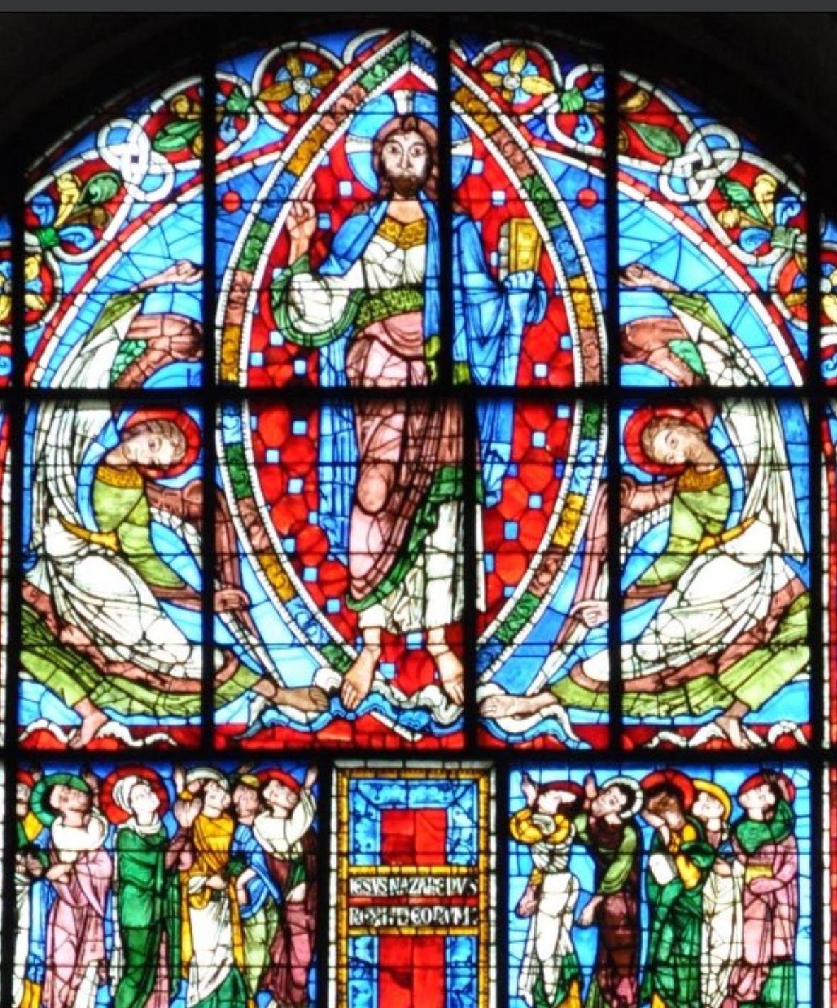 Vitrail de la Crucifixion 12eme siecle cathedrale de Poitiers