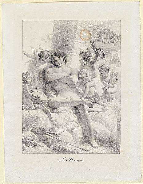 pierre-narcisse-guerin 1816 le-paresseux lithographie.